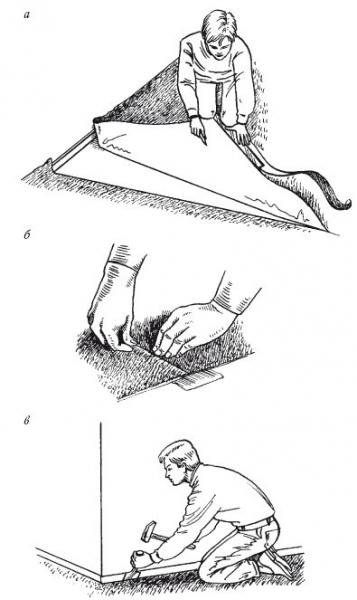 Укладка ковролина своими руками под плинтус и на клей (видео)